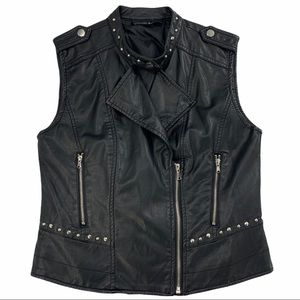 Faux Leather Vest- Black with Silver Hardware